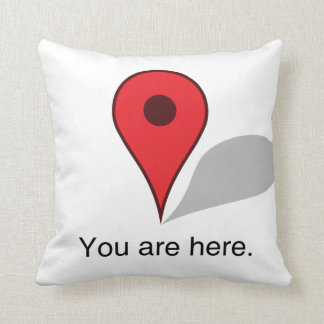 you are here pillow. throw pillow