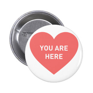 You are here red heart 2 inch round button