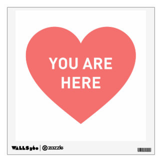 You are here red heart wall sticker