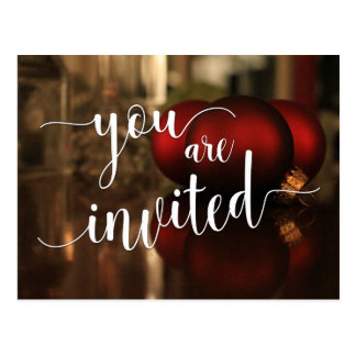 You Are Invited Christmas Holiday Party Red Decor Postcard
