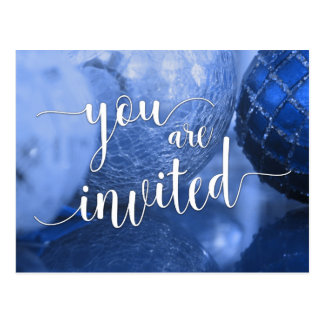 You Are Invited Christmas Party, Blue Glass Balls Postcard