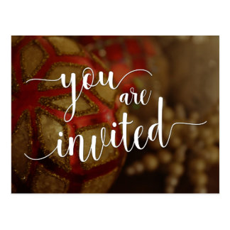 You Are Invited Christmas Party, Decorations Postcard