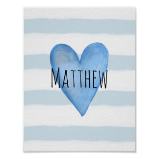 You are Loved Blue Heart Baby Boy's Nursery Poster