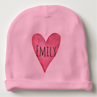 You are Loved Customizable Pink Heart Girl's Baby Beanie