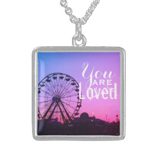 You are Loved Ferris Wheel Sunset Sterling Silver Necklace