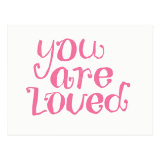 You Are Loved Pink Encouragement Postcard