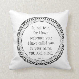 You are mine, black-and-white scripture throw pillow