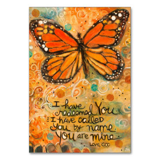"""You Are Mine"" Isaiah Prayer Card with Butterfly Table Cards"