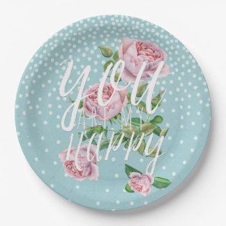 You are my happy- Typography & Illustration 9 Inch Paper Plate