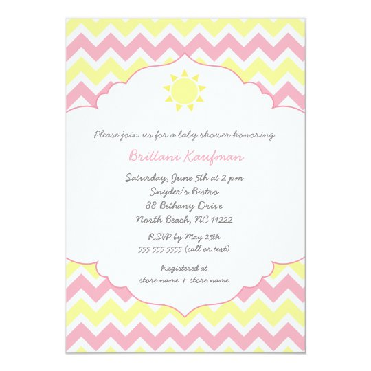 You are my sunshine baby shower invite pink