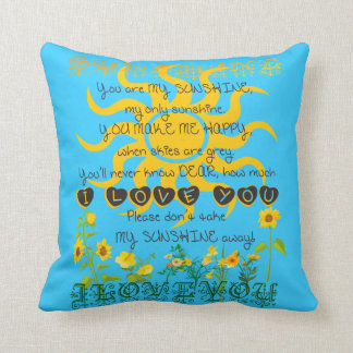 You are my sunshine blue pillow. throw pillow