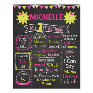 You Are My Sunshine First Birthday Chalkboard Poster