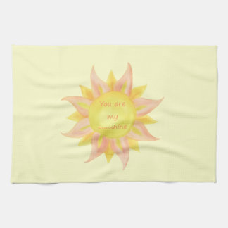 """You are my Sunshine"" Fun Quote Watercolor Sun Art Kitchen Towel"