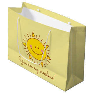 You Are My Sunshine Happy Cute Smiley Sunny Day Large Gift Bag