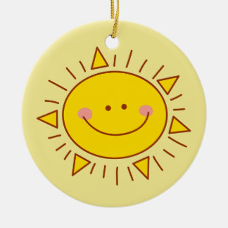 You Are My Sunshine Happy Cute Smiley Sunny Day Round Ceramic Ornament