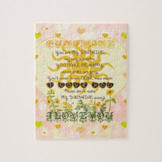You Are My Sunshine Heart Jigsaw Puzzle