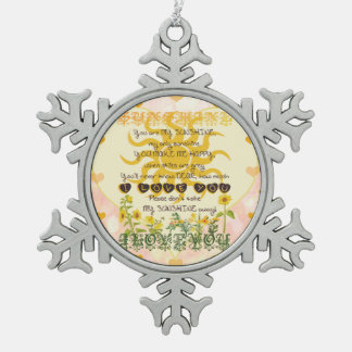 You Are My Sunshine Hearts Pewter Snowflake Ornament