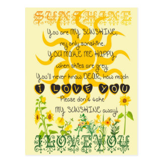 You are my sunshine. postcard