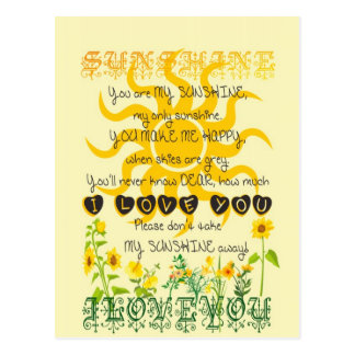 You are my sunshine... postcard