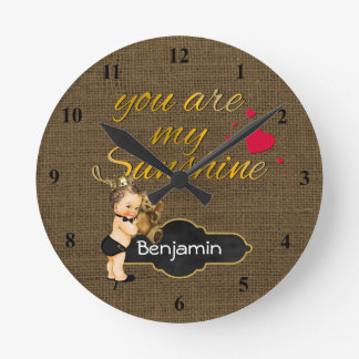 You Are My Sunshine Prince | Burlap Boy Nursery Round Clock