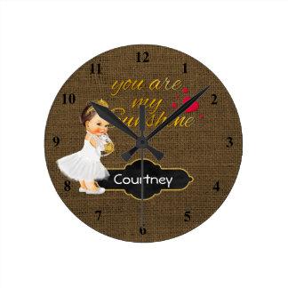 You Are My Sunshine Princess | Burlap Girl Nursery Clocks