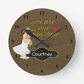 You Are My Sunshine Princess | Burlap Girl Nursery Round Clock