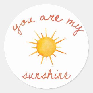 You Are My Sunshine Quote Art Classic Round Sticker