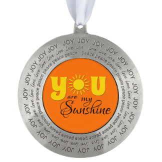 You are my sunshine round pewter ornament