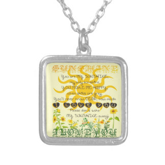 You are my sunshine. silver plated necklace