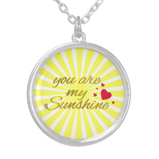 You Are My Sunshine Song Words Bright Sunny Yellow Silver Plated Necklace