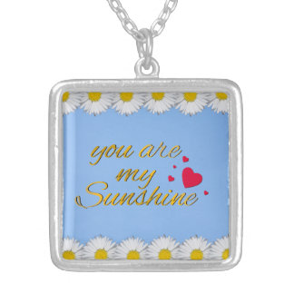 You Are My Sunshine Song Words Hearts Daisies Silver Plated Necklace