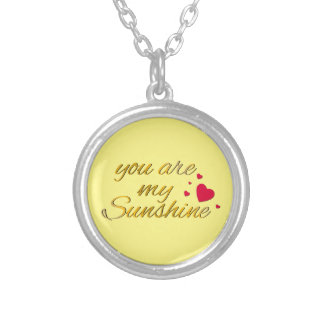 You Are My Sunshine Song Words Hearts Silver Plated Necklace