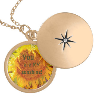"""""""'YOU ARE MY SUNSHINE"""" SUNFLOWER (PHOTOG) GOLD PLATED NECKLACE"""