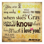 You are my Sunshine Word Art Vintage Background Print