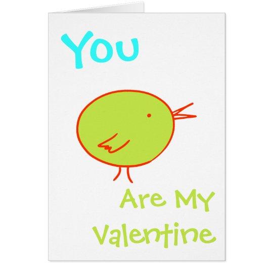 You Are My Valentine Green Bird Card