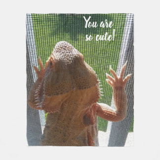 You are so cute Bearded Dragon Photo Print Fleece Blanket