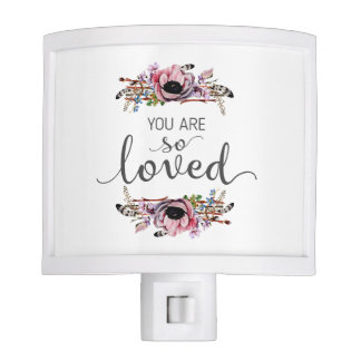 You are so Loved Boho Chic Floral Wreath Baby Girl Night Lites
