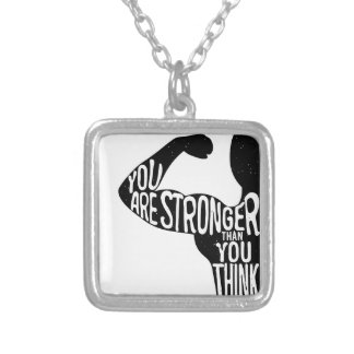 You Are Stronger Than You Think Silver Plated Necklace