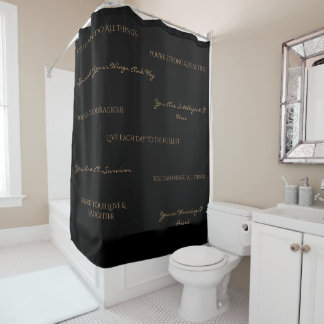 You Are Uplifting Shower Curtain-Black/Tan