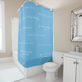 You Are Uplifting Shower Curtain-Blue