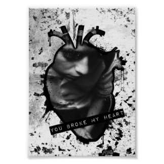 you broke my heart anatomical heart poster