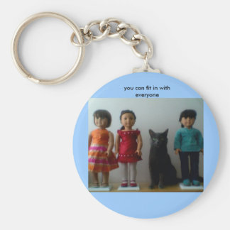 you can fit in with everyone basic round button keychain