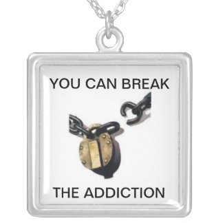 YOU CAN STOP THE ADDICTION SILVER PLATED NECKLACE