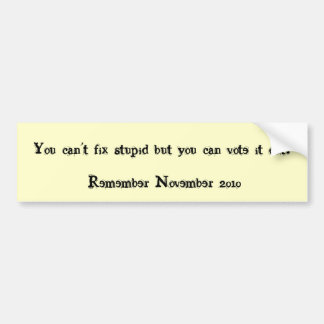 You can't fix stupid but you can vote it out!, ... bumper sticker