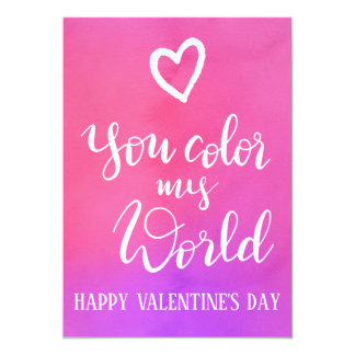 You Colour My World  | Handwritten Valentines Day Card