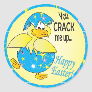 You Crack Me Up Easter Duck Classic Round Sticker