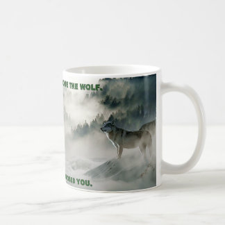 """You Don't Choose The Wolf"" Winter Scene Coffee Mug"