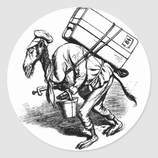 You Don't Travel Light - Camel Carrying Heavy Bags Round Sticker