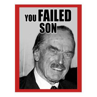 """YOU FAILED SON"" POSTCARD"