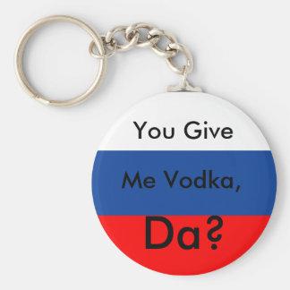 You Give, Me Vodka,, Da? Basic Round Button Keychain